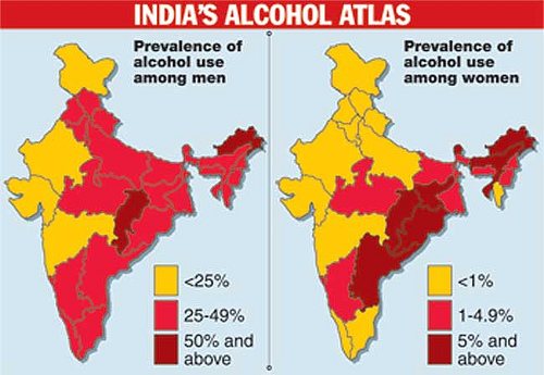 India's alcohol geography for men and women