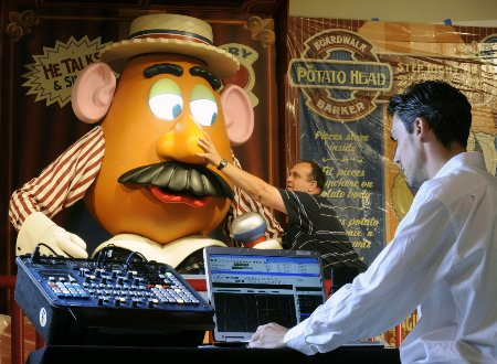 Imagineers work on Mr. Potato Head for Toy Story Midway Mania in Disneyland