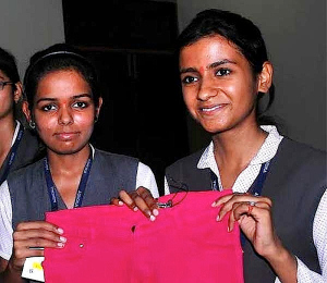 Outraged by the prevalence of sexual violence against women in India, students Diksha Pathak (left) and Anjali Srivastava have created a high-tech pair of jeans designed to prevent rape.