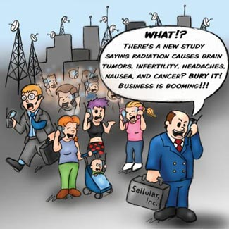 cell phone tower radiation satire cartoon