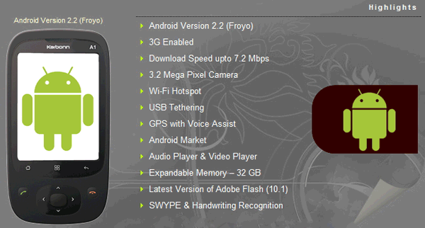 Karbonn A1 Specifications