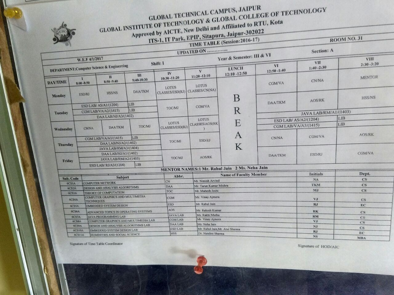 Global institute of technology for 6th sem time table