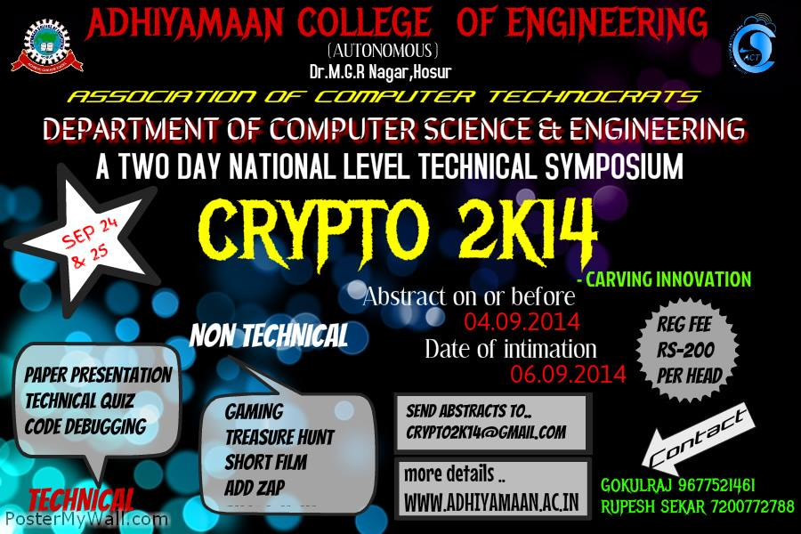 Crypto 2K14 Adhiyamaan College Of Engineering