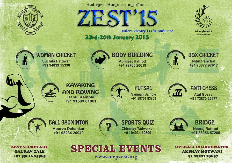 Zest 2015 Sports Festival College Of Engineering Pune