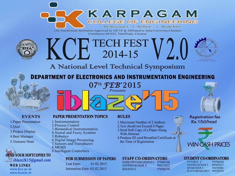 iblaze 15 Technical Fest Karpagam College of Engineering Coimbatore